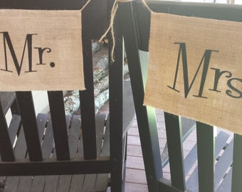 Bride and Groom, Burlap Chair Banners, Chair Signs, Mr and Mrs, Wedding Chair, Burlap Wedding, Rustic Wedding, Reception Banners