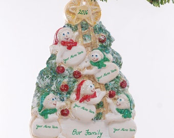 Family of five Snowmen Christmas ornament - personalized with your family or groups names - Resin Snowman ornament is made in the USA (142)