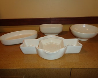 5 Piece Vintage WhitePottery Collection, Curated Collection of White Matte Finish Ceramic Pieces in Vintage Condition, An Instant Collection
