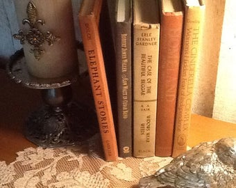 Vintage book collection, tan, brown, orange, fall colors, display, wedding, photo shoot