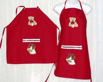 Adult or Child Size Red Cotton Holiday Aprons with Front Pocket,Bear and Bell Sequin Appliques and Ties waist and Neck. New