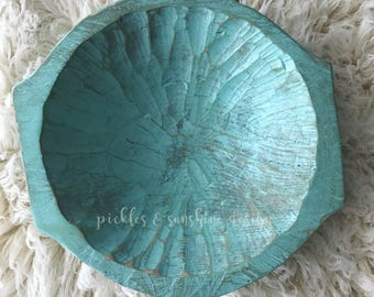 Mint green Carved wood DEEP posing bowl, Primitive look natural wood dough bowl with handles, newborn posing prop