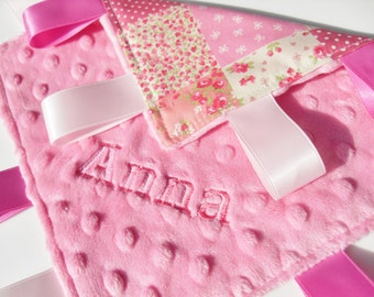 Minky Taggie blanket toddler comforter pink patchwork - Can be personalised - Personalized gift