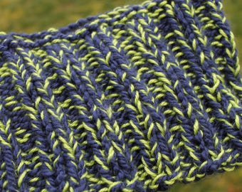 Seahawks Chunky Hand Knit Infinity Scarf, Lime Green, Navy, Neck Warmer, Neck ware, Cowl, Cozy wear, Winter, Acrylic, sports, 12th man