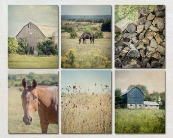Rustic Wall Decor Set, Six Print Collection, Farmhouse Gallery Wall, Horse Picture, 6 Country Photographs, Barn Photo, Vertical Farm Print
