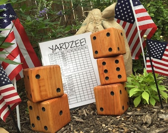 YARDZEE dice, yahtzee, back yard dice, wedding lawn game , camping, outdoor games, cook off, BBQ, party favor, gift, realtor, jane.com