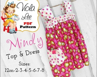 Mindy Girl's Sewing Pattern. Girl's Dress Pattern. Girl's Top Pattern, Dress and Top pdf Pattern included. Girl's Boutique Pants Pattern