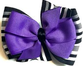 Purple & Black Stripes Stacked Boutique Style Ribbon Bow Handmade for PETS Dog Collar Accessory