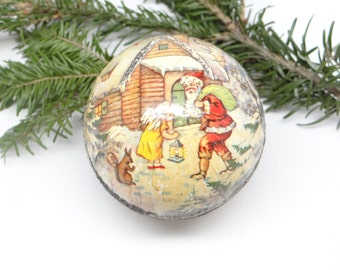 1940's German Santa Christmas Ornament, Vintage Pressed Cardboard Candy Container