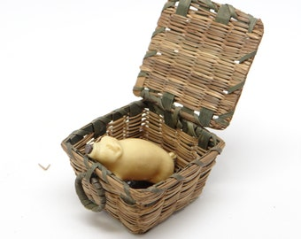 Vintage Pig in a Basket, Toy for Doll House