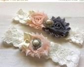 ON SALE Blush and Grey Wedding Garter, Wedding Garter Set, Bridal Garter, Lace Garter, Custom Garter, Toss Garter Included