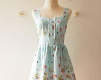 Clearance SALE Blue Sundress Vintage Inspired Summer Dress Blue Tea Party Dress Sweet Dress Floral Dress ,custom