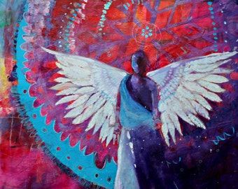 """Angel Painting, Modern Iconography, Original Colorful Artwork """"Your Angel is Waiting 20x20"""""""