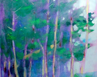 """Abstract Tree Painting, Original Loose Landscape, Country Scene, Works on Paper, """"In the Cool Shadows"""" 12x12"""""""