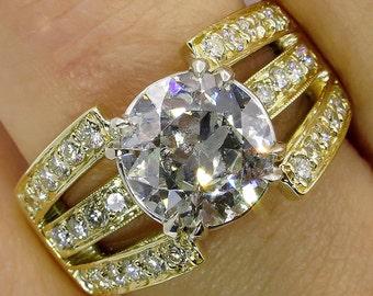 Wide 3.02ct Estate Vintage Round Diamond Engagement Wedding 18k Yellow Gold Ring