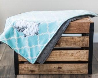 Personalized Baby Blanket, Minky Plush Neutral Nursery Sheep, Grey blue teal baby blue Monogrammed newborn shower gift