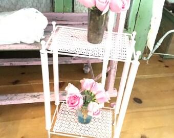 Shabby  pink vintage table metal  farmhouse cottage romanticvintage shabby chic prairie