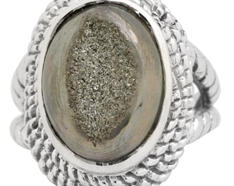 Black Titanium Quartz Druzy Gemstone Ring Solid 925 Silver Jewelry Size 7  SALE!