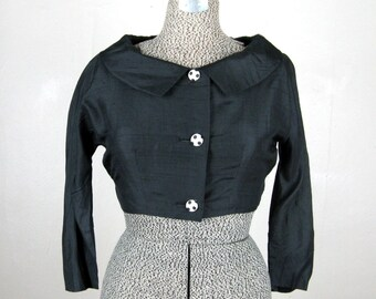 Vintage 1950s Bolero 50s Black Silk Evening Jacket with Polka Dot Lining and Buttons Size S