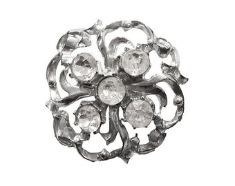 Rhinestone Brooch, Silver Brooch,  Ribbon Brooch,  Bow Brooch, Vintage 1950s, Floral Brooch, Mid Century