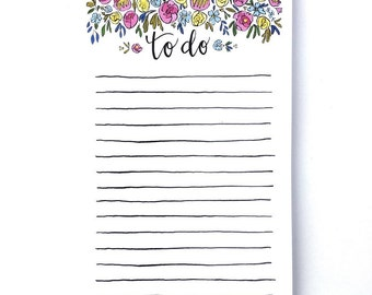 Lined floral to do notepad