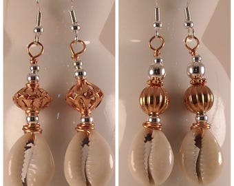 Afrocentric Cowrie Shells Dangle Earrings Copper Earrings Cowry Shell Earrings Sea Shell Jewelry