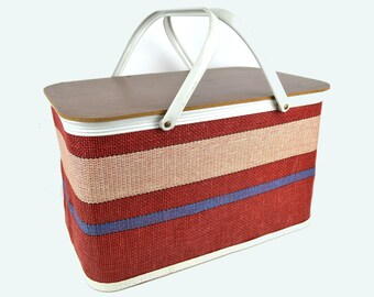 Vintage Redmon Picnic Basket White Metal Handles Red, Blue and Cream with Pie Shelf Woven Striped Design