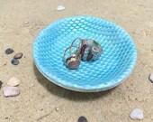 Mermaid Ring Dish - Sculpted Clay - Decor - Mermaid Scales - Glow in the Dark - Blue