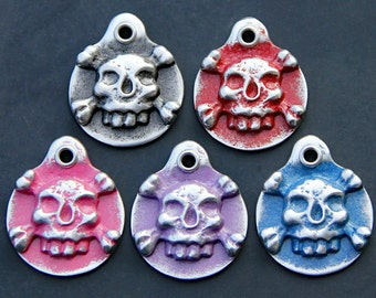 Pet ID Tag Skull and Crossbones Dog Tag Custom Pet Tag Unique Gift Skulls Dog ID Tag Personalized Collar Tag Handmade