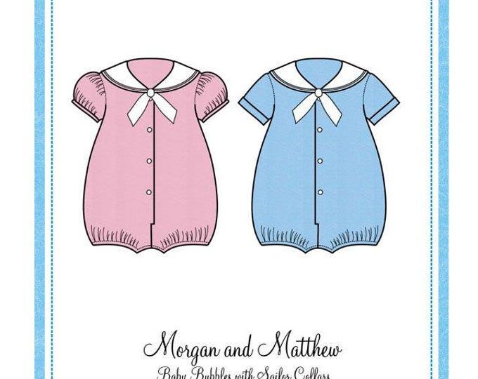 Sailor Bubble / Baby Bubbles / Sailor Collars / Boys Pattern / Girl's Pattern / Embroidery Design / Bonnie Blue #113