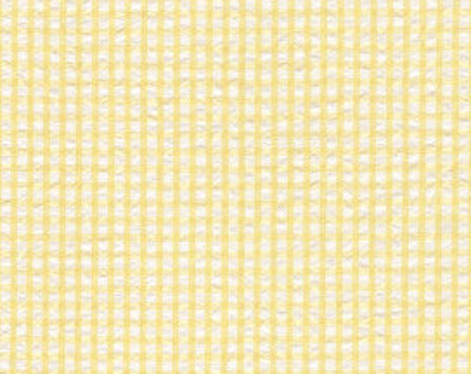 """Gingham Fabric / Seersucker Fabric / Yellow and White / Gingham /  by Fabric Finders 60"""" wide"""