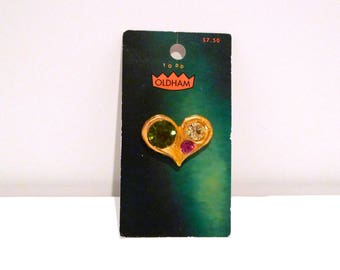 Todd Oldham Button on Card Vintage Gold tone Metal & Rhinestones Shank Button Choose Heart Paisley Toggle Bar Streamline Designer 1990s