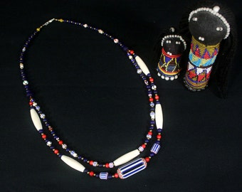 African Necklace, African Jewelry, African Trade Beads Necklace, Ethnic Jewelry, MultiStrand, Tribal Necklace, Colorful Necklace