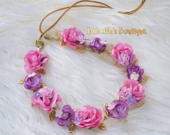 Pink Purple Light Pink Lavender First Birthday Flower Crown M2M Well Dressed Wolf Gold Matilda Jane Newborn Crown Royalty Newborn Tiara New