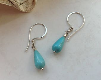 Turquoise Magnesite Sterling Silver Drop Earrings