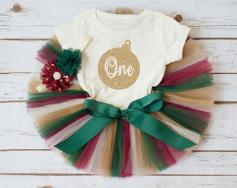 "Christmas first birthday outfit ""Harper"" Christmas birthday winter first birthday outfit holiday first birthday tutu outfit girl tutu set"
