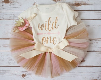 Wild one outfit 'Luca Gold' pink and gold wild one birthday outfit wild one birthday girl outfit wild one first birthday wild one tutu set
