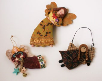 Christmas Folk Art Angel Ornament Lot of 3 Flying Folk Angels Country Christmas Decor Holiday Tree Decorations