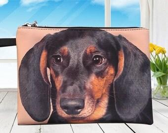 Dachshund dog pouch,  dog pouch, dog purse, dog clutch, dog lover pouch, dog portrait pouch, dog makeup bag,MK 1616