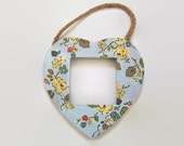 Cath Kidston Nordic Heart Photo Frame - Decoupaged Blue Floral Wall Photo Frame - 2.5 x 2.5 Hanging Photo Frame