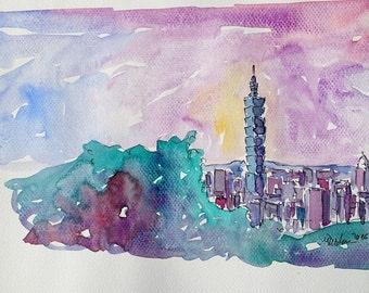 Taipei Taiwan Skyline with 101 Tower - Limited Edition Fine Art Print
