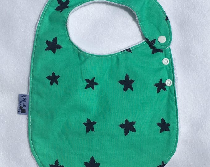 Green with Blue Stars Adjustable Side Snap Bib with Minky Back