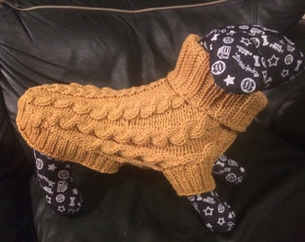 """100% merino wool - Hand Knit Dog Sweater, Mustard Sweater, 15"""" length, ready to ship, cable knit sweater - Russell,Yorkie, Poodle,"""