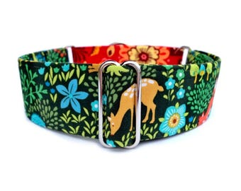 Peaceful Woodland Dog Collar - Green, Red, Blue Woodland Creatures Fabric Wrapped Martingale Collar or Buckle Dog Collar