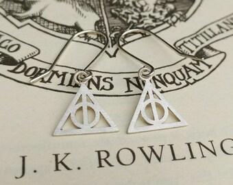 Sterling Silver Deathly Hallows Drop Earrings - Harry Potter, Fantasy, Geek