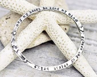 Heart Be Kind Bangle - Inspirational Bangle - Word Jewelry - Sterling Silver - B905