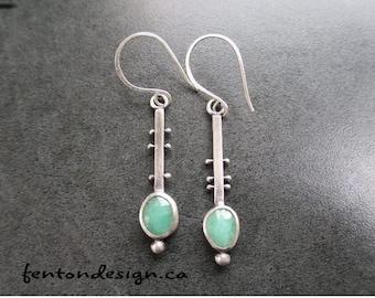 Emerald Earrings, Drop Earrings, Sterling Silver Earrings, Rose Cut Emeralds, Handmade Jewelry, One of a kind Earrings, May Birthstone