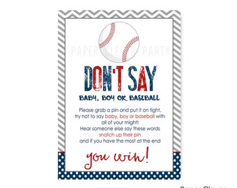 Baseball Don't Say Baby Shower Game -- Navy and Grey -- Party Printable -- Instant Download -- Sign -- Clothespin Activity (BASEDS)