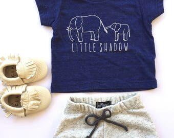 Elephant // Little Shadow // Baby Toddler Child Tshirt // NAVY // American Apparel Tee :APlsSSn