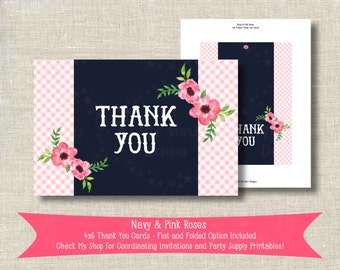Navy & Pink Roses 4x6 Thank You Cards | Stationery Instant Download - Flat and Folded Option Included | Coordinating Birthday Printable